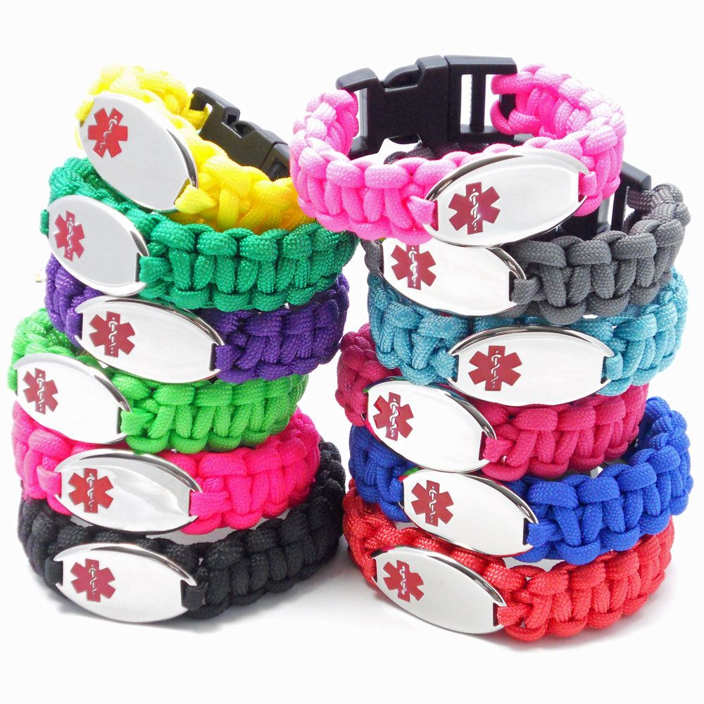 Paracord Medical Alert Id Bracelet Kids Womens Mens Engraving Not Included