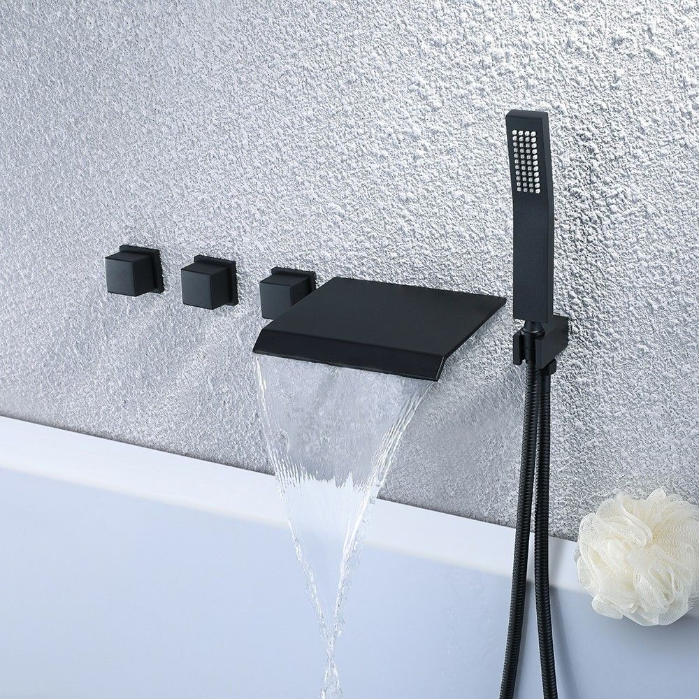Moda Stylish Design Wall Mounted Waterfall Bathtub Faucet With Handshower In Matte Black Waterfall Bathtub Faucet Waterfall Tub Faucet Black Bathtub Faucet