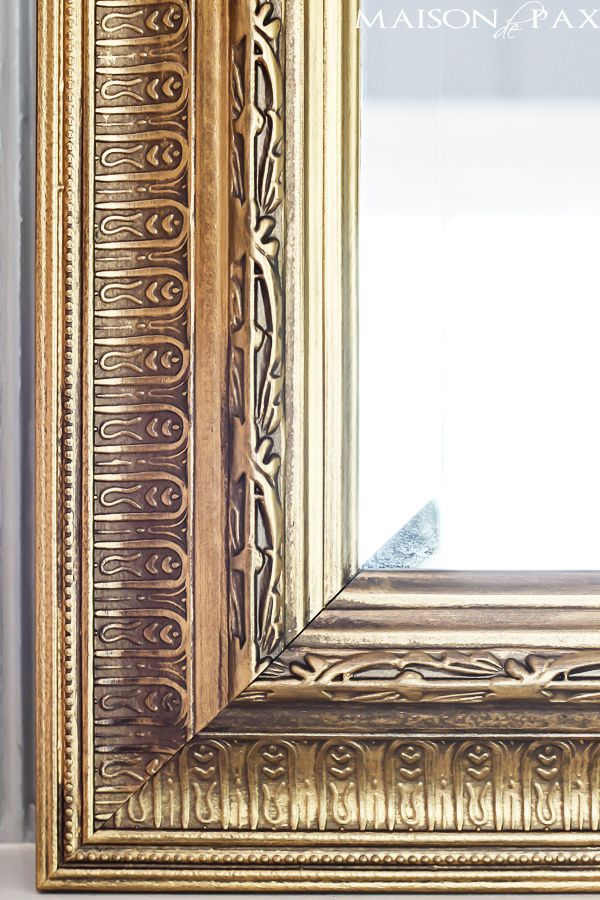 349bd500f93 You won t believe this EASY transformation! Just one step to create this  gorgeous gilded frame via maisondepax.com  diy  wax  gold  glam  mirror
