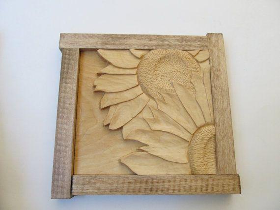 Sunflower, Sunflower Wall Decor Sunflower Carving Wood Sculpture ...