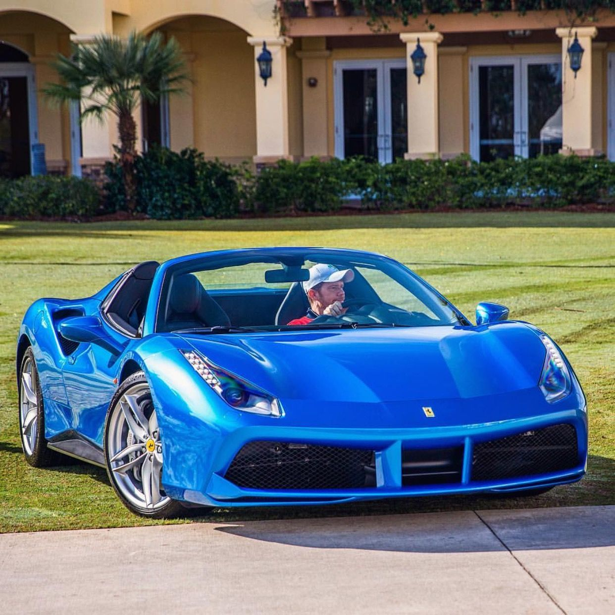 Ferrari F8 Tributo Imagined As A Spider: Ferrari 488 Spider Painted In Blue Corsa Photo Taken By