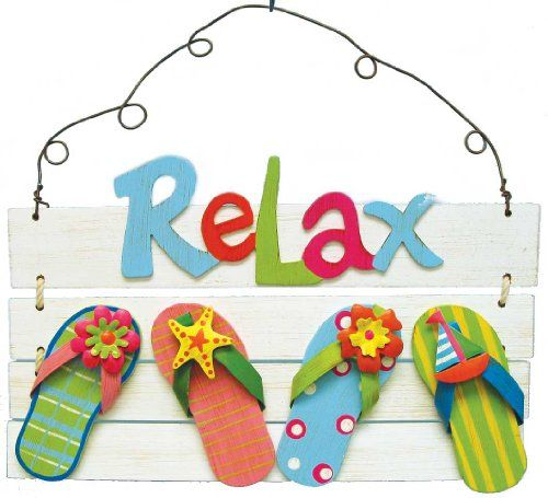 b89590e534800e Relax - Weathered White wash wood slat sign with 4 flip flops. The word  Relax is in raised wood. Flip Flops have metal straps with flowers