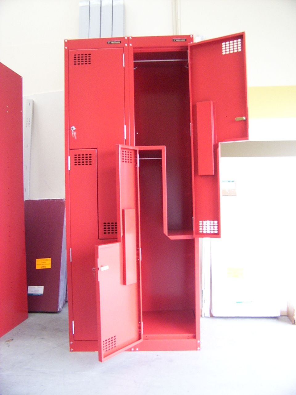 Interior,Unique And Cool Locker Storage Design Ideas On Combined Adorable  Red Color,Trend