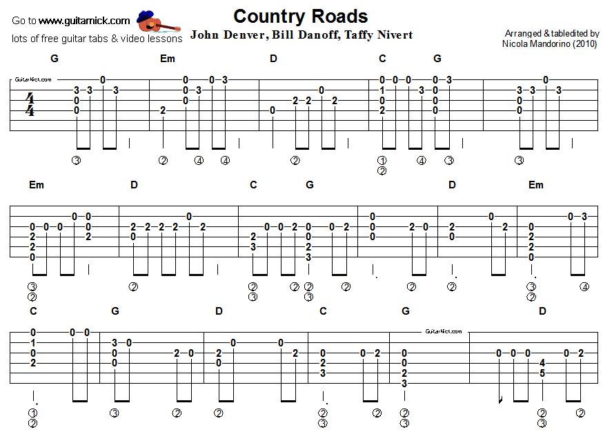 country roads john denver guitar tab 1 tablatures guitare pinterest country roads john. Black Bedroom Furniture Sets. Home Design Ideas