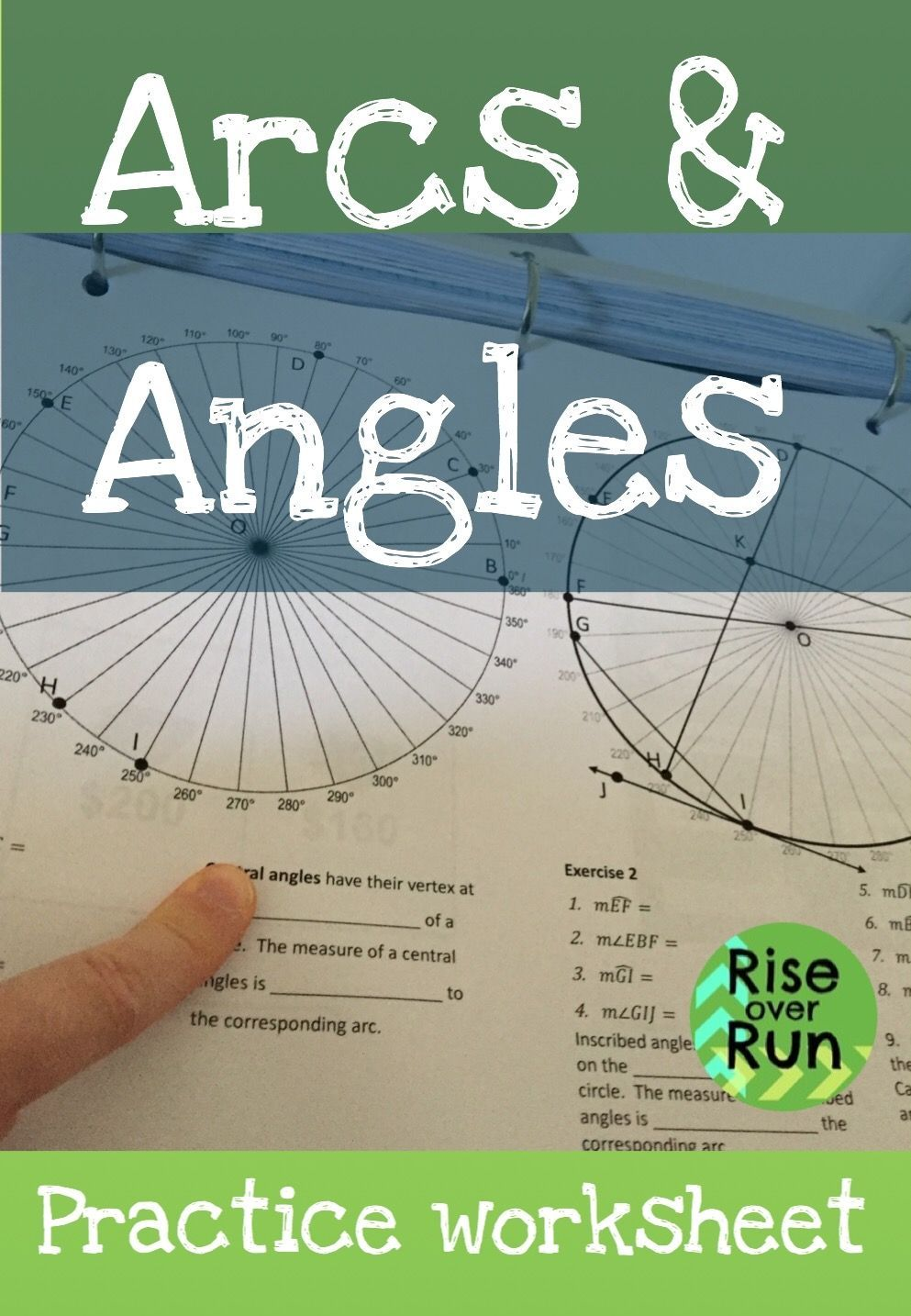 Arcs and angles in circles worksheet. Great way to explore ...