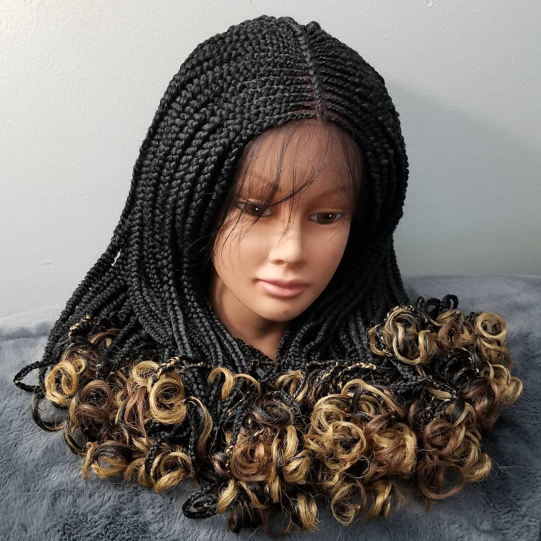 Fulani Inspired Cornrow Braided Wig with Curly Ends color