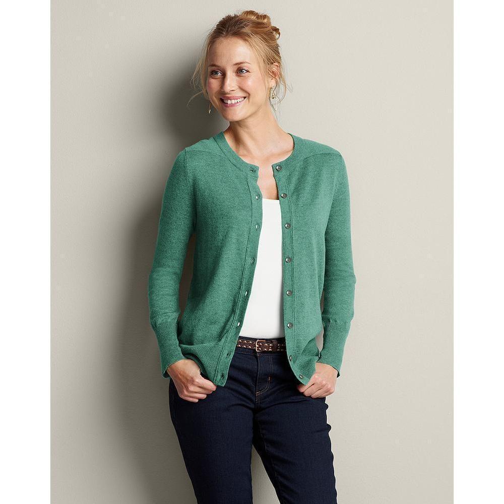 Eddie Bauer Women's Christine Cardigan Sweater Sweater, Capri Blue Heather 3X Women's Plus