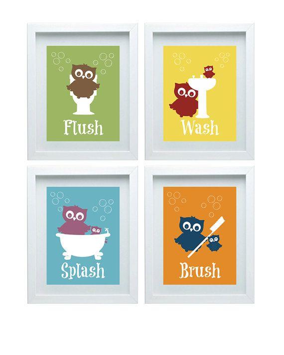 Bathroom Rules Art Kids Bathroom Decor Owl Wall Decor Set