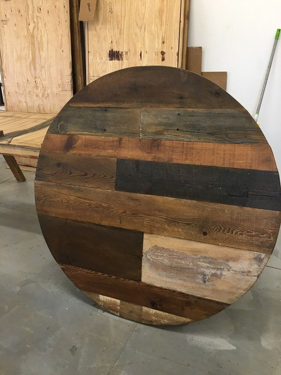 Round dining table table top wood variety by FreshRestorations. add your base to one of these custom made table tops This listing