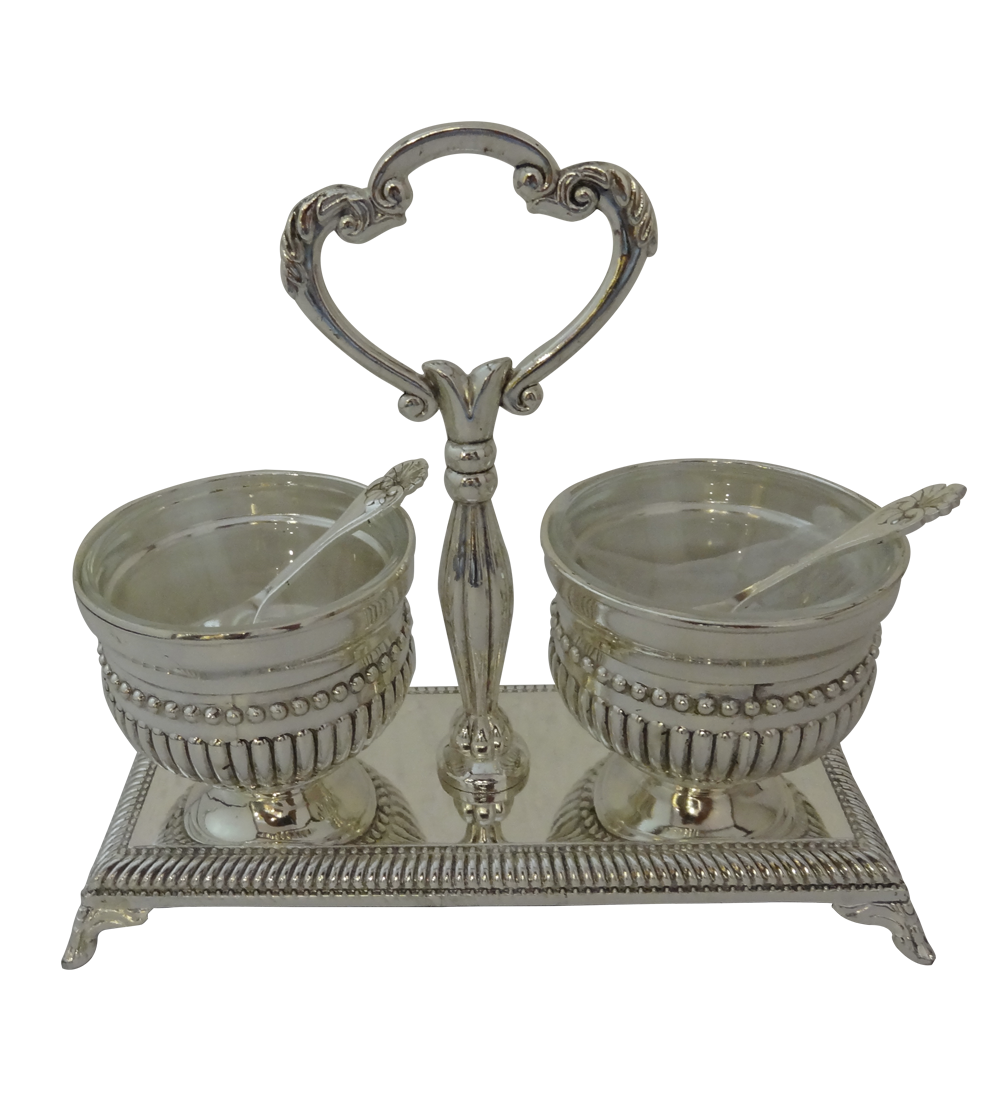 Kumkum Set With Spoon Online Gift Shopping India Silver Plated