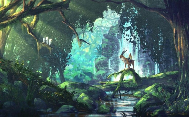 Fantasy Art Anime Forest Princess Mononoke Studio Ghibli Hd Wallpaper Desktop Background Studio Ghibli Background Princess Mononoke Wallpaper Studio Ghibli