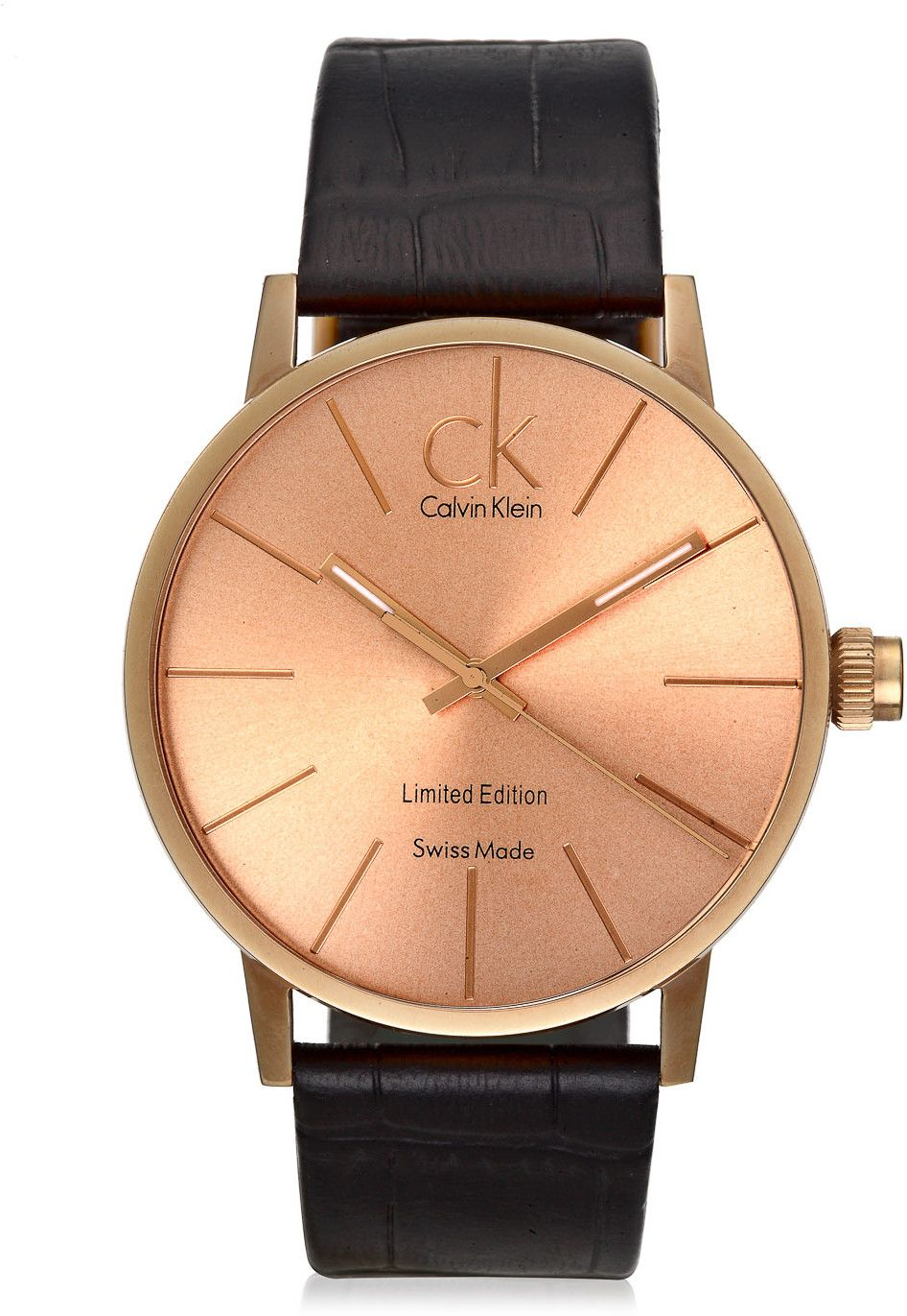 4005b7135085 CK Calvin Klein Limited Edition Rose Gold and Black Leather Watch ...