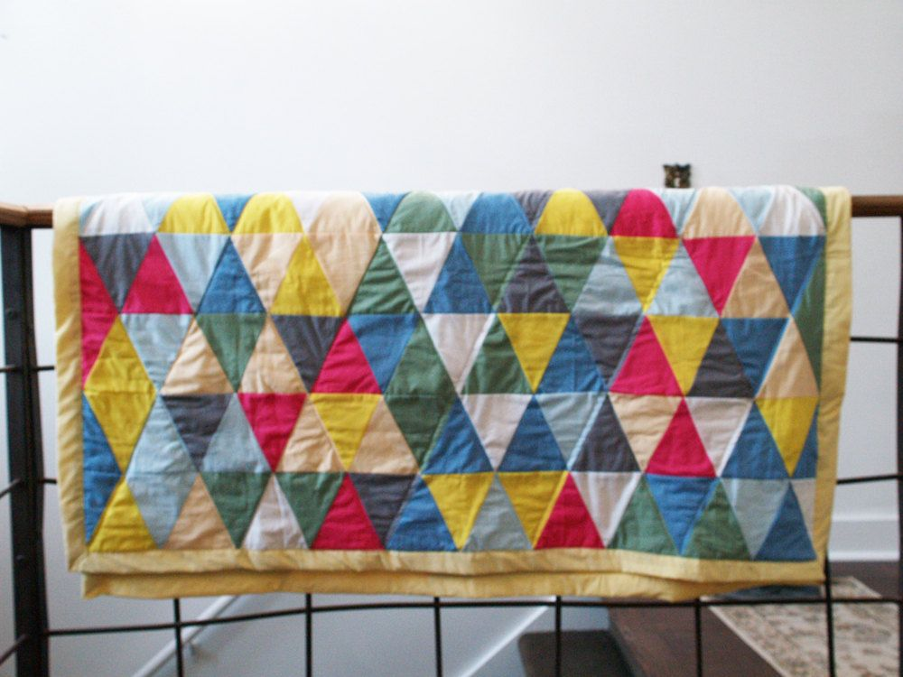 Quilts - Geometric Triangles - Modern Quilt - Modern Triangle Blanket Quilt - Modern Etsy Quilt - Patchwork Quilt. $ 179.00, via Etsy.