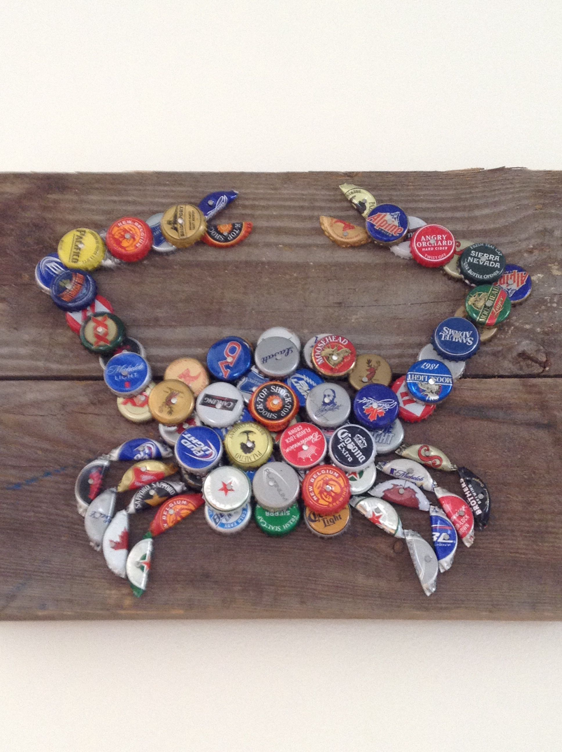 Cool diy beer bottle cap crab bottle cap ideas for What can i make with beer bottle caps