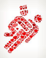 Doctor Reviving Patient Red Hearts Love Pattern vector art illustration