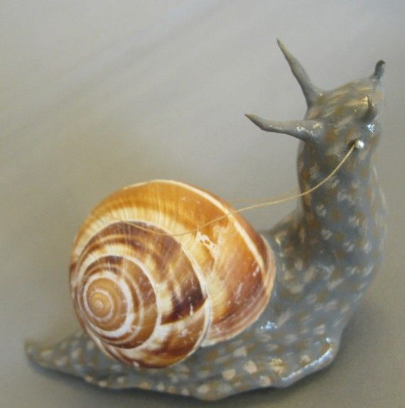 S for Snail: Paper clay snail with bridle