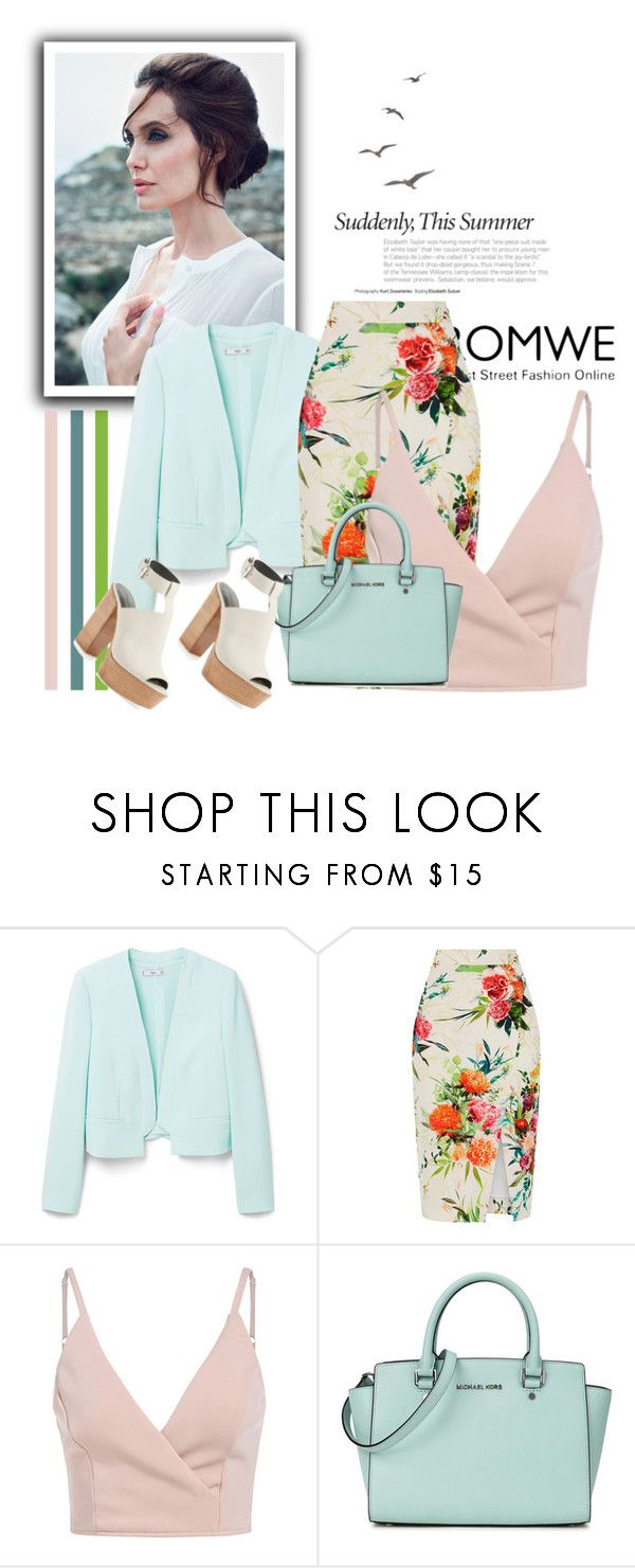 """""""V-Neck"""" by ayannap ❤ liked on Polyvore featuring MANGO, Oasis, Michael Kors and Rebecca Minkoff"""