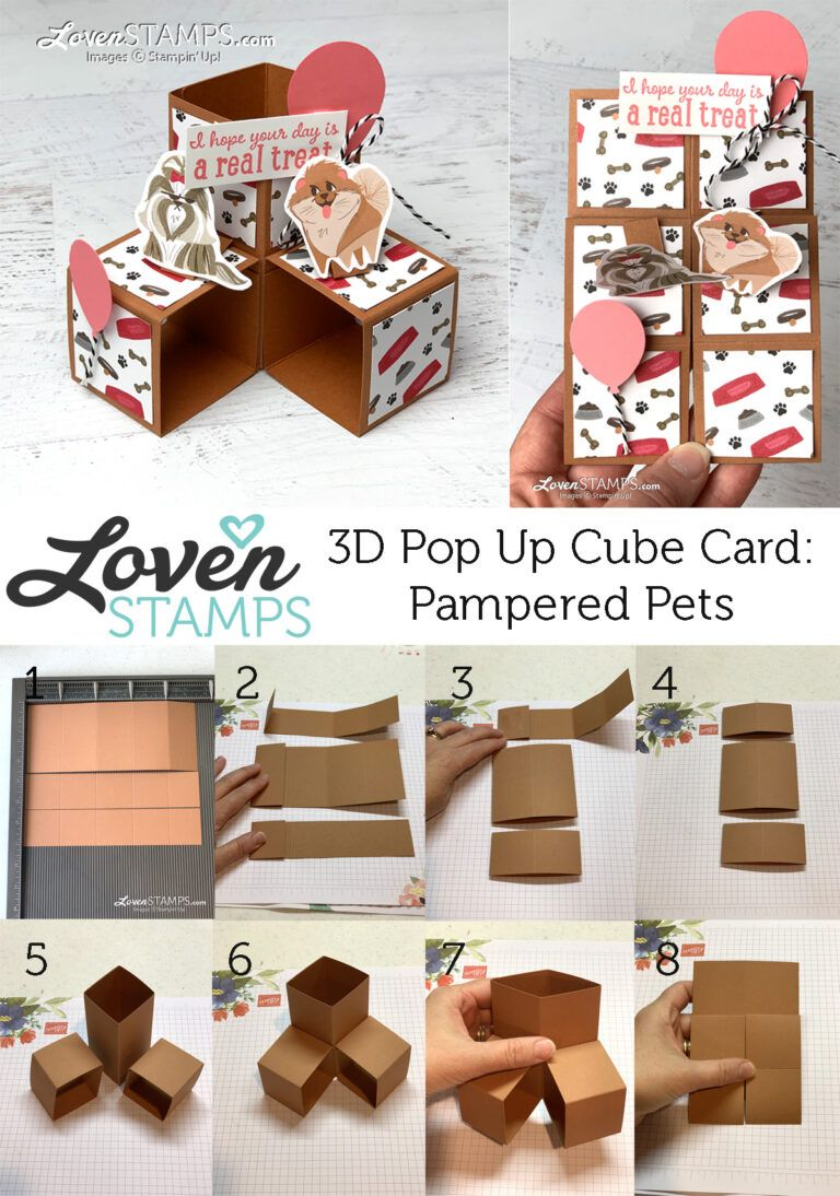 Pampered Pets Cards That Move How To Make A Triple Cube Pop Up Card Lovenstamps Pop Up Card Templates Fun Fold Cards Pop Up Box Cards