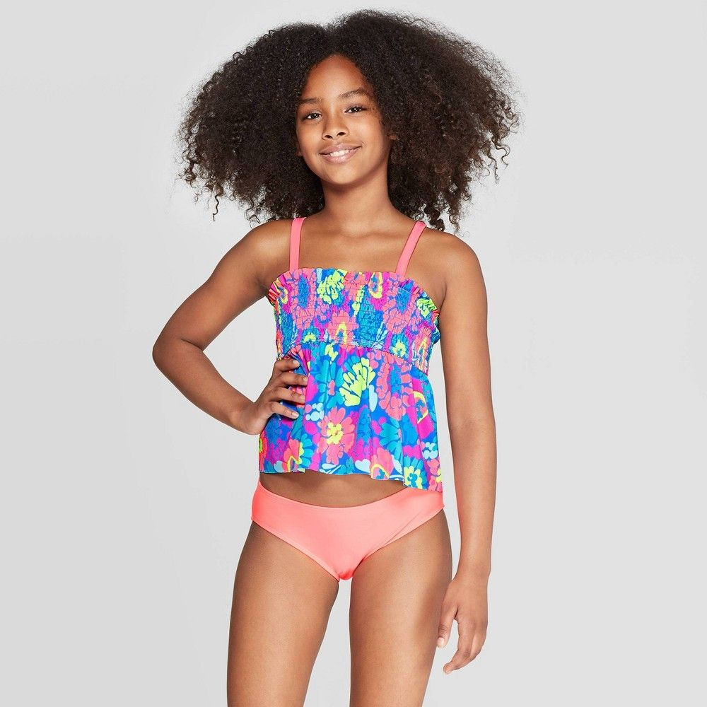 7a2657dca8cea Plus Size Girls' Flower Fields Tankini Set - Cat & Jack Coral XL Plus, Pink