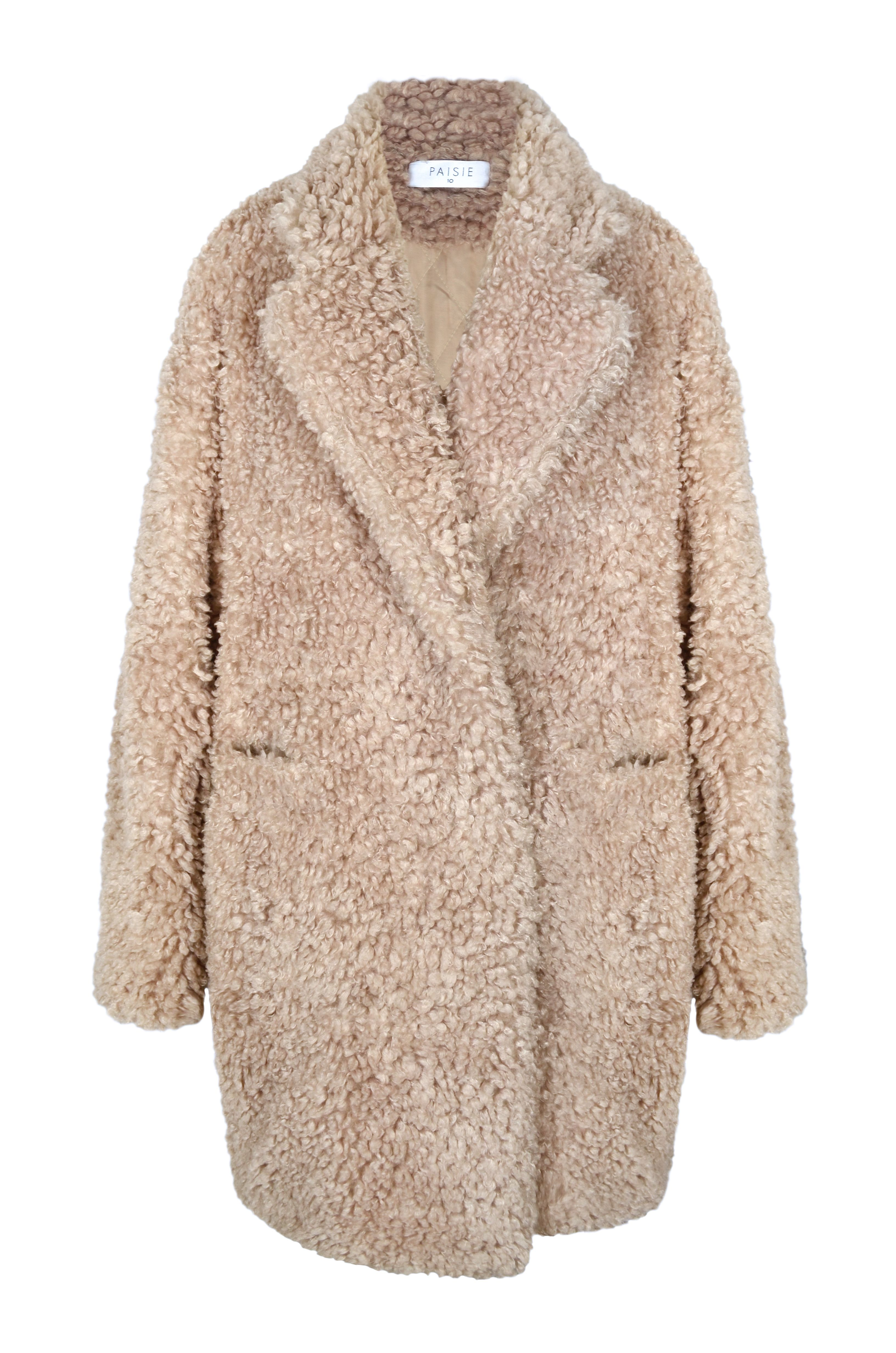 Feel cozy in style this winter in this Paisie double breasted faux fur coat. Designed with a wool blend collar stand, the coat features front pockets and is perfect for everyday wear.