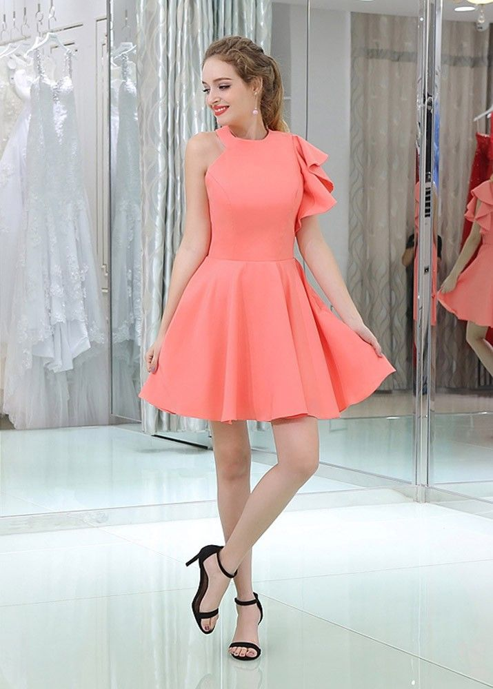 68838479dd3 Alluring A Line Halter Asymmetric Pleated Satin Bridesmaid Dress   bridesmaids  bridesmaid  Bridesmaiddress  dress  Petite