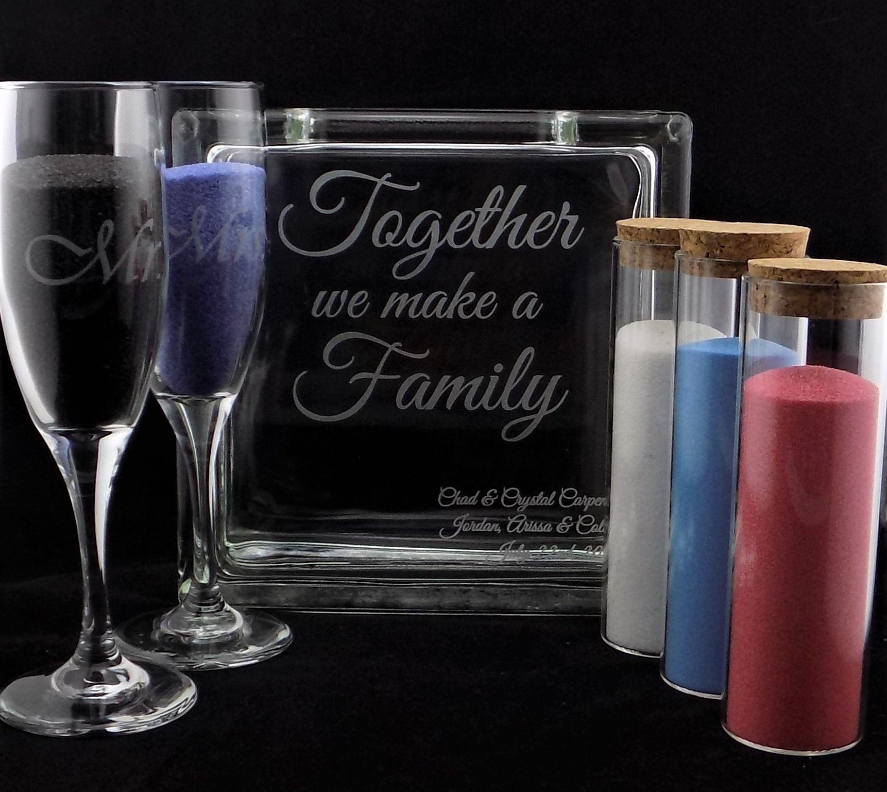 Personalized Engraved Blended Family Sand Ceremony Unity