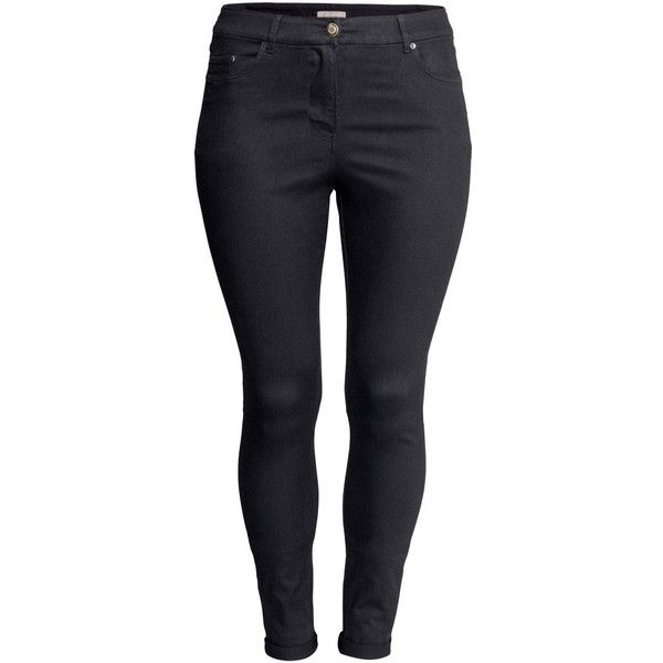 H&M+ Superstretch trousers ($23) ❤ liked on Polyvore featuring pants, bottoms, plus size, black, black slim fit pants, five pocket pants, plus size black pants, h&m pants and slim pants