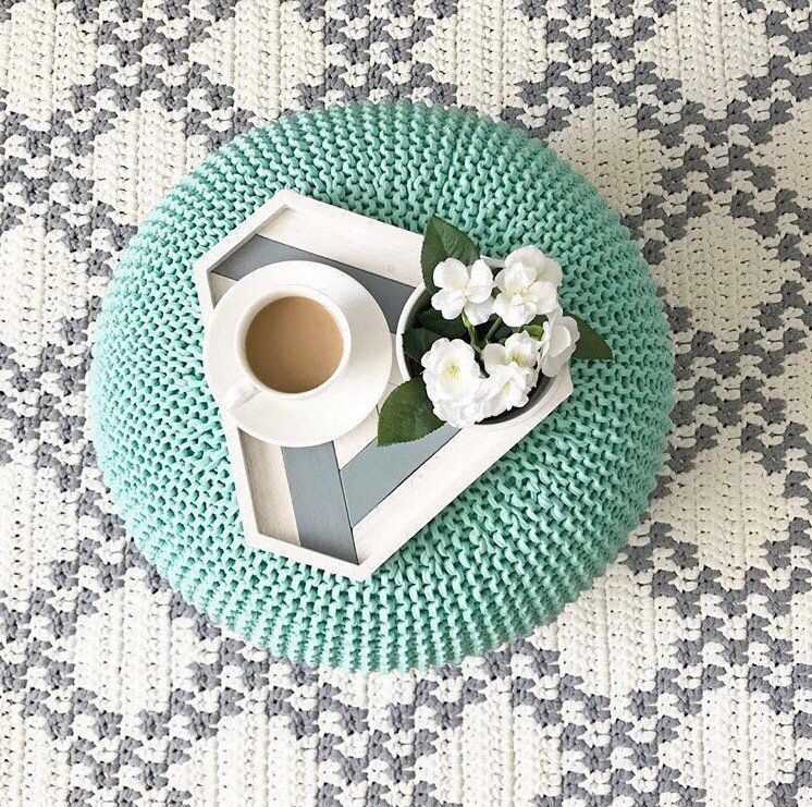 Knitted Pouf and Ottoman, Green Pouffe, Crochet poufs ...
