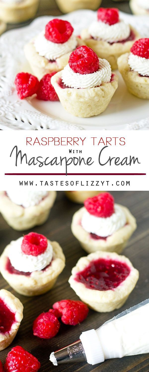 Bite-size Raspberry Tarts with Mascarpone Cream. These petite treats have a simple homemade raspberry pie filling with a lightly sweetened mascarpone cream on top.