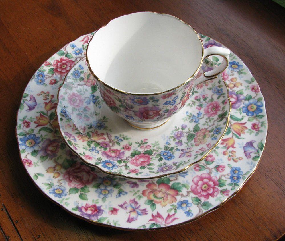 Crown Staffordshire TRIO Plate Saucer Teacup SPRINGTIME CHINTZ LOT 6 Bone China #CrownStaffordshire