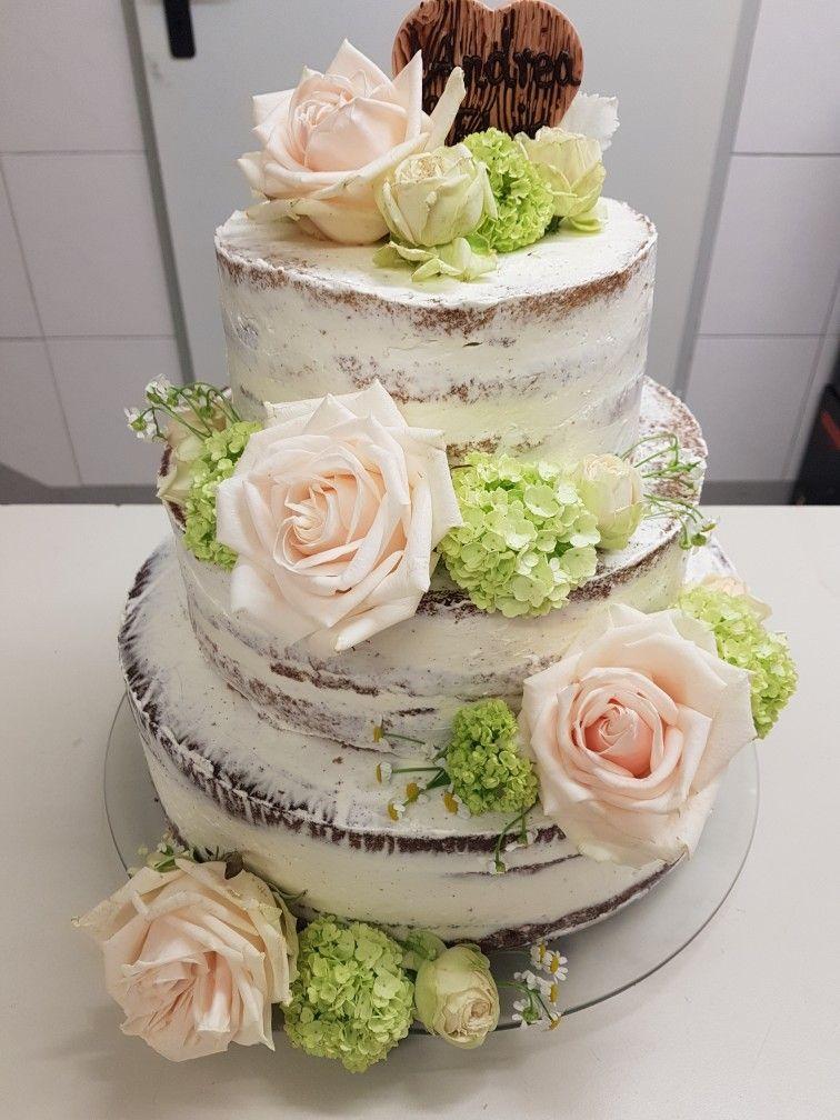 Hochzeitstorte Semi Naked Naked Cake Frische Blumen Ohne Fondant