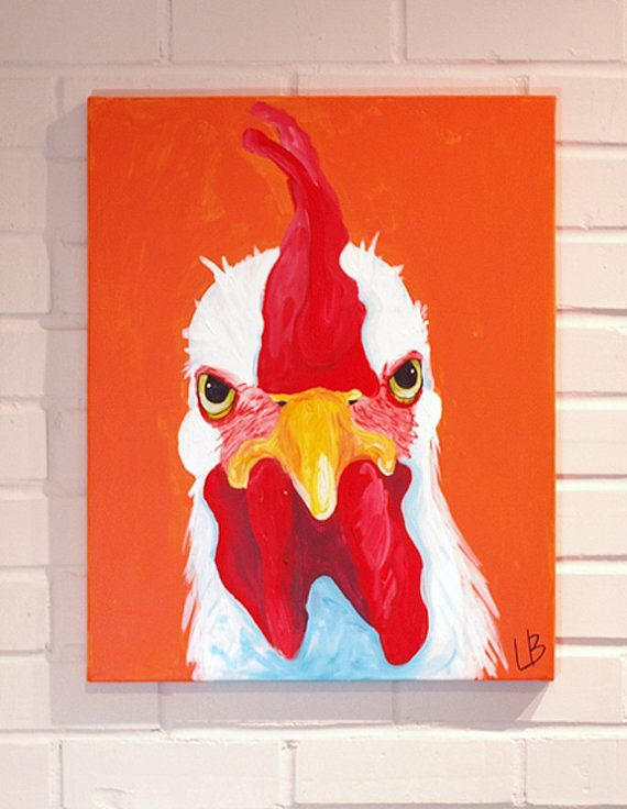 Rooster Painting Original Canvas Art Acrylic on by Logan Berard on ...