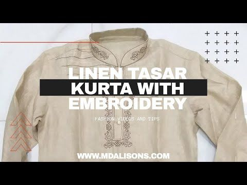 Linen Tasar kurta with embroidery | linen kurta Mdalisons | @Mdalisons - YouTube