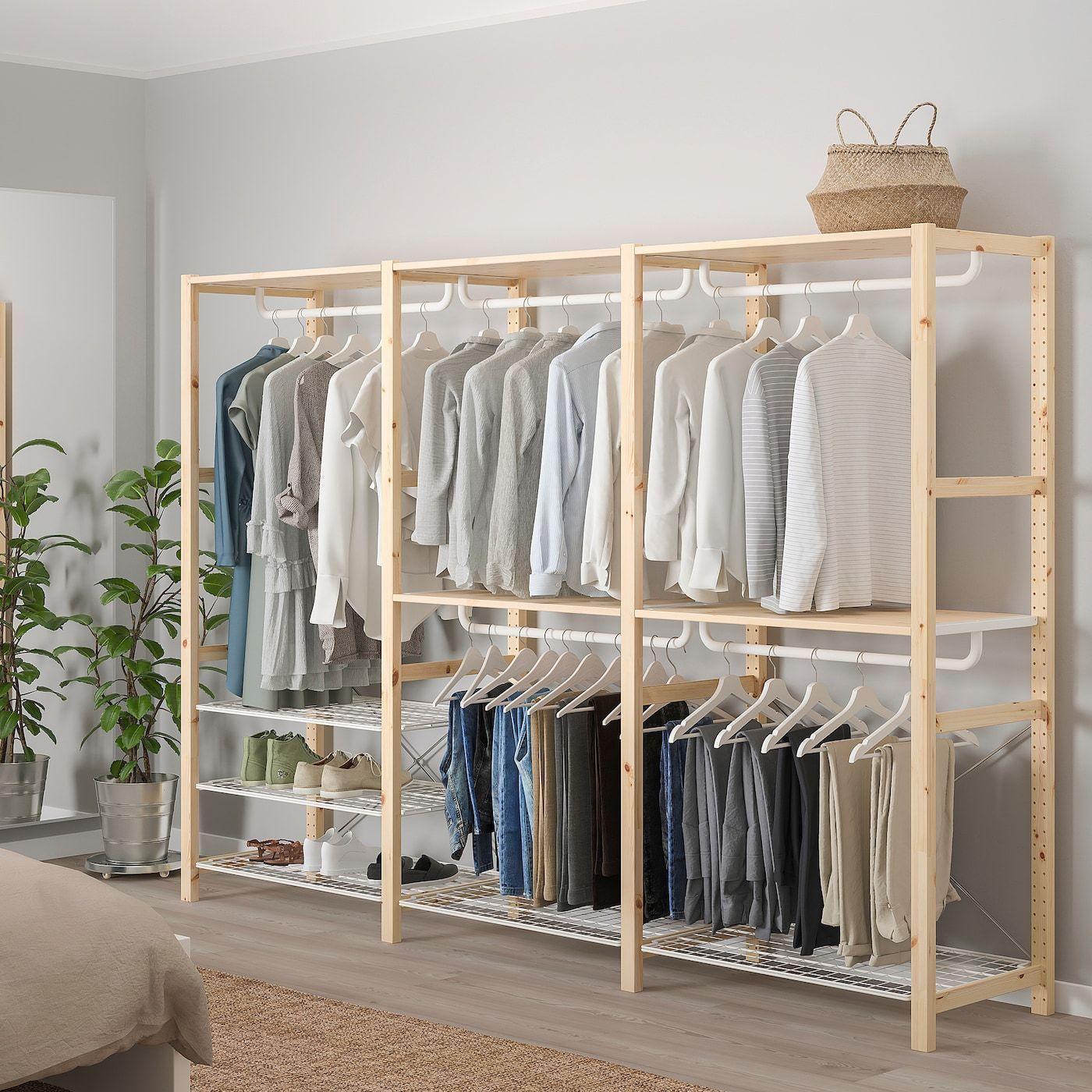 Ivar Shelving Unit With Shelves Rails Pine Ikea In 2020 Shelves In Bedroom Bedroom Closet Design Ikea Wardrobe