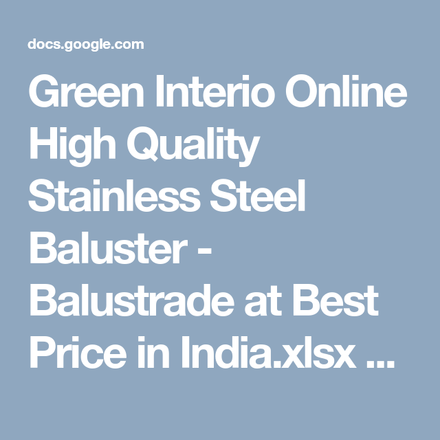 Best Green Interio Online High Quality Stainless Steel Baluster 400 x 300