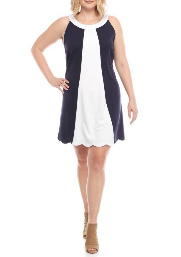 Crown Ivy Women Plus Size 1x Color Block Knit Sleeveless Shift
