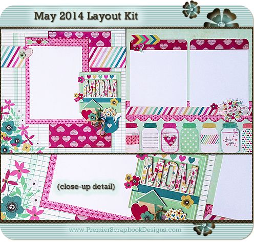 Monthly Kit Club: Premier Scrapbook Designs: Scrapbook Layout Kits and Card Kits