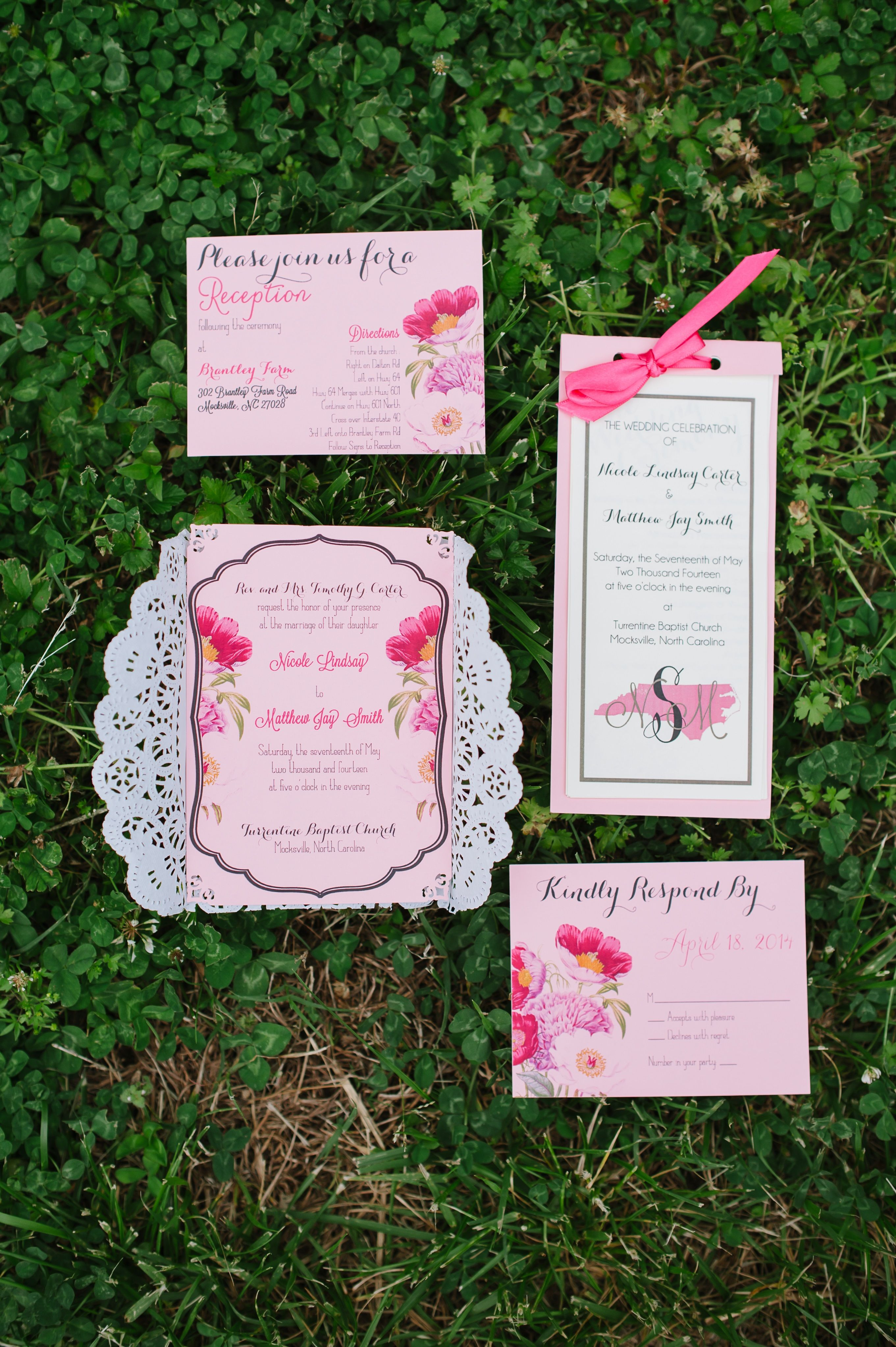 DIY wedding invitations with doilies and DIY programs | My Real ...