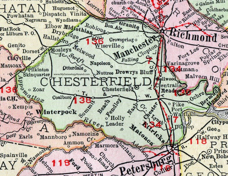 Chesterfield County Virginia Map 1911 Rand Mcnally Manchester