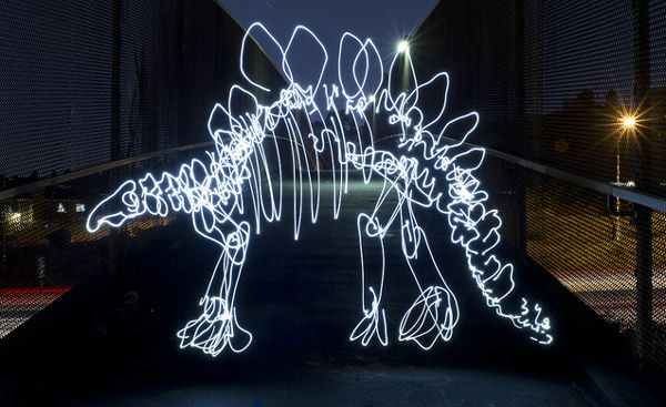 Light Fossils Dinosaurs Created With Painting By Darren Pearson