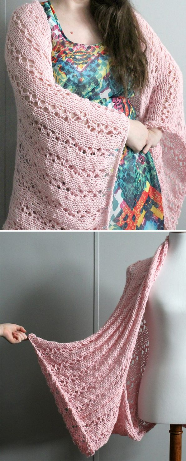 Free Knitting Pattern for Easy 4 Row Repeat Perfect Blanket Shrug ...