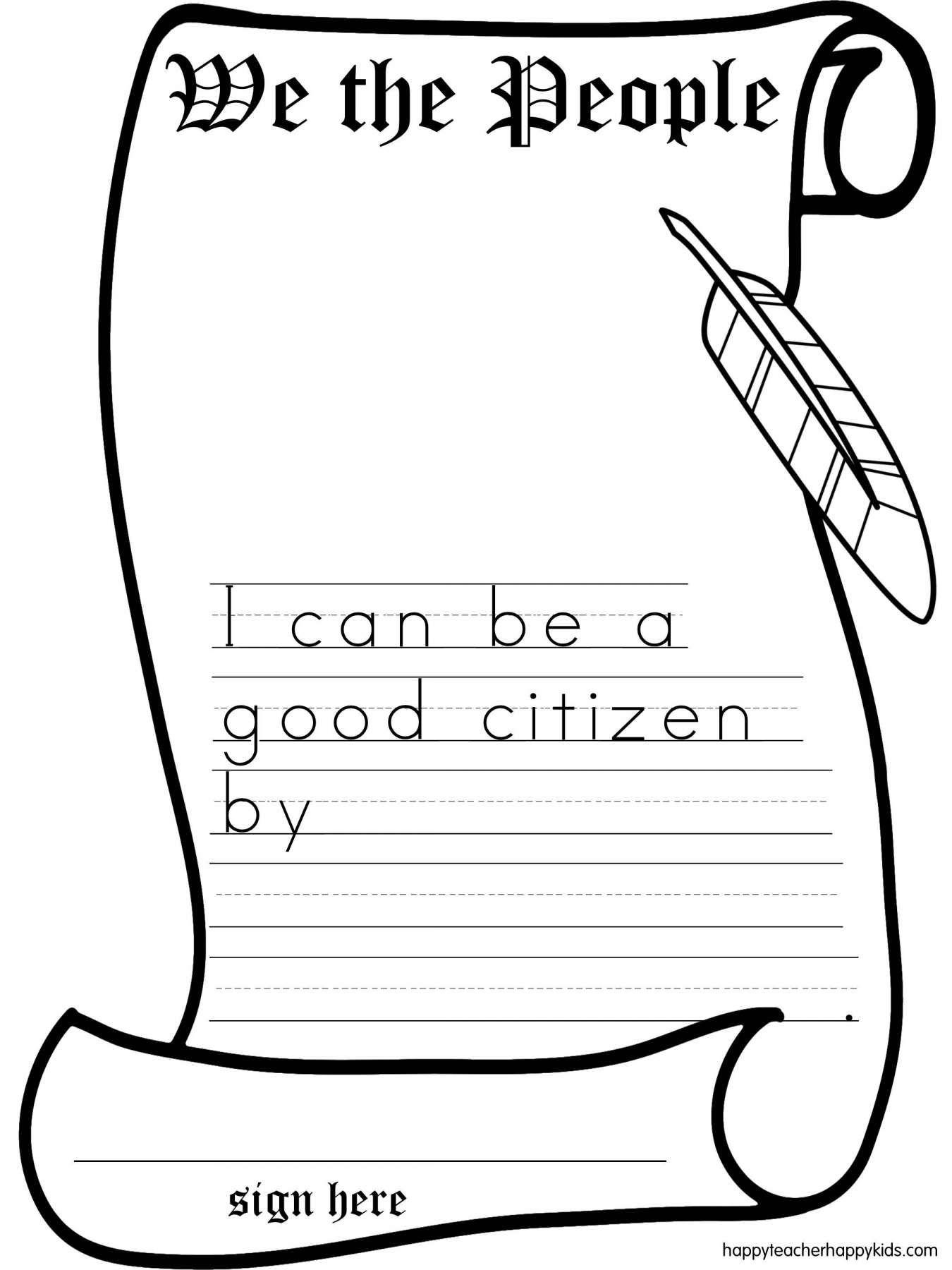 12 Constitution Worksheet For Kindergarten