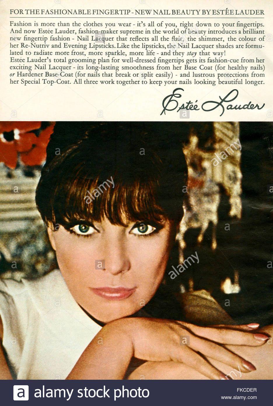 1960s UK Estee Lauder Magazine Advert Stock Photo