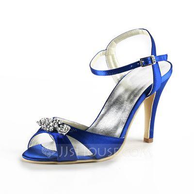 Sapatos de casamento - $79.99 - Mulher Cetim Salto agulha Sandálias Sapatos abertos com Imitação de Diamantes (047025060) http://jjshouse.com/pt/Mulher-Cetim-Salto-Agulha-Sandalias-Sapatos-Abertos-Com-Imitacao-De-Diamantes-047025060-g25060