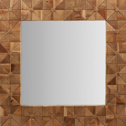 espejo cuadrado de madera de teka reciclada