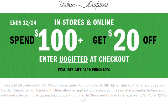 20 Off 100 At Urban Outfitters Or Online Via Promo Code Uogifted Shopping Coupons Promo Codes Coupon Apps