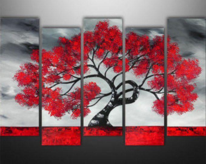 Abstrakte Malerei, Baum, Landschaftsmalerei, große, Wand, Wand - wohnzimmerwand rot