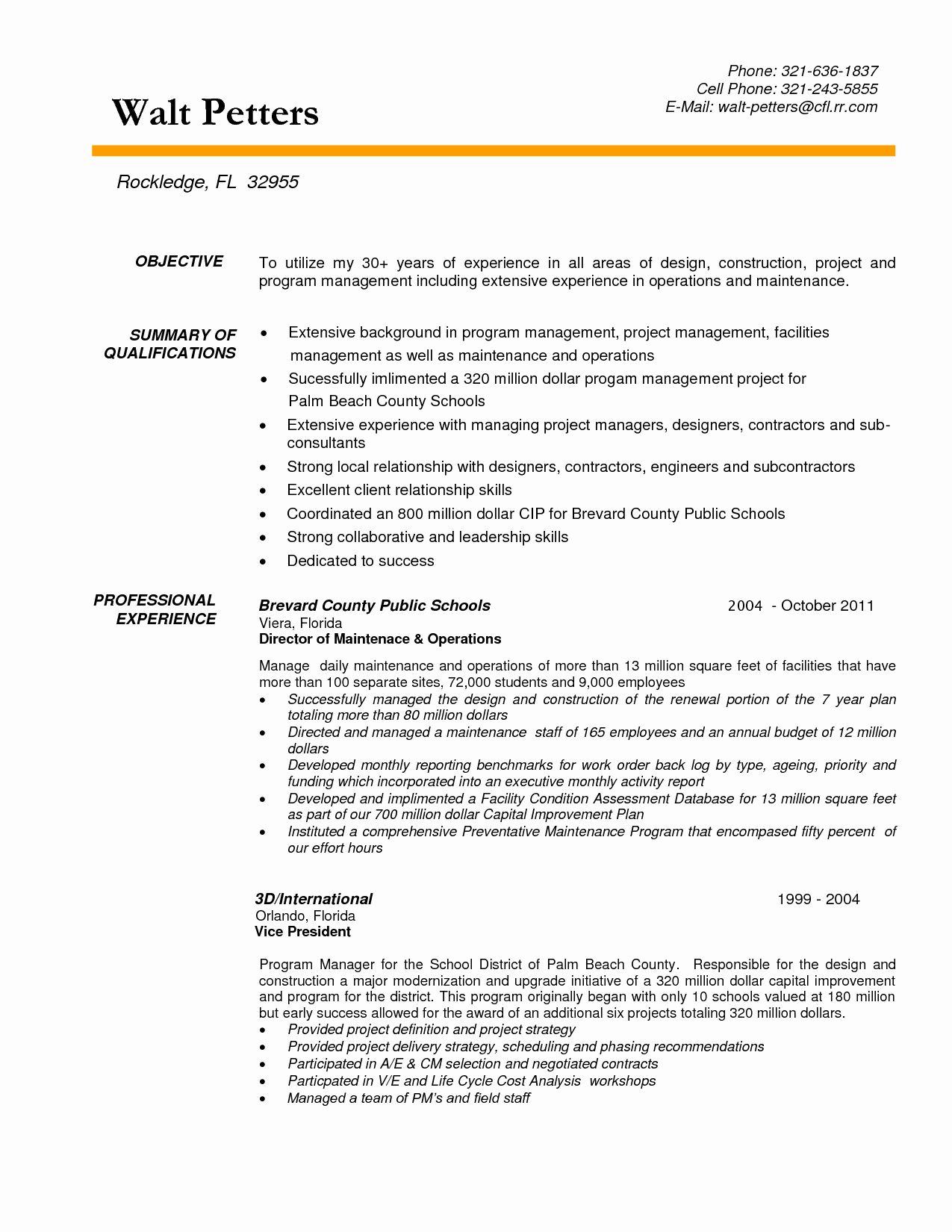 Construction Project Manager Resume Template Fresh
