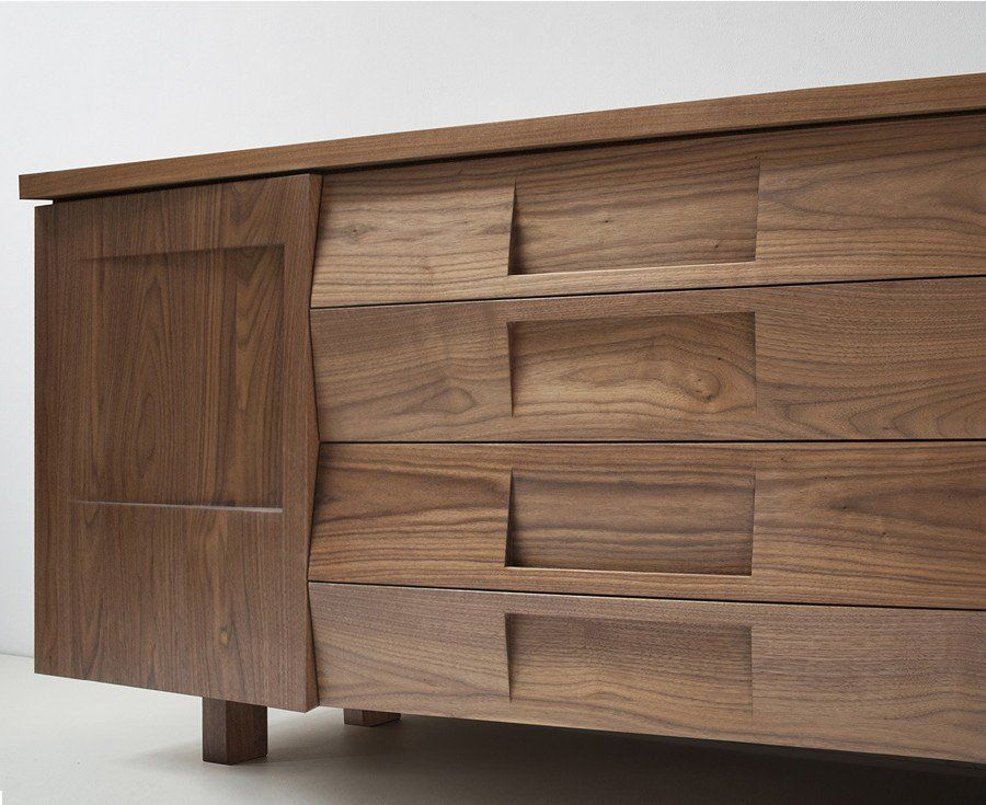 Walnut Wood Credenza Modern Furniture Decor Wood Credenza