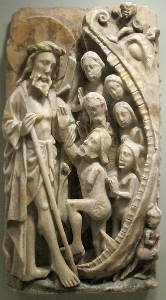'Harrowing of Hell', 15th century English alabaster relief with traces of poychrome and gilding, Honolulu Academy of Arts.